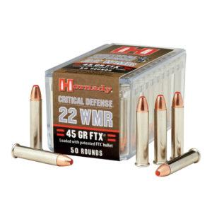 Hornady 22 WMR 45 gr FTX Critical Defense – 50 Rounds