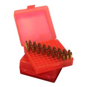 MTM Fliptop 100 Round Pistol Ammo Box – Clear Red